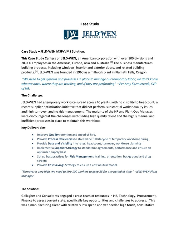 MSP/VMS solution for JELD-WEN, an American corporation with over 100 divisions and 20,000 employees